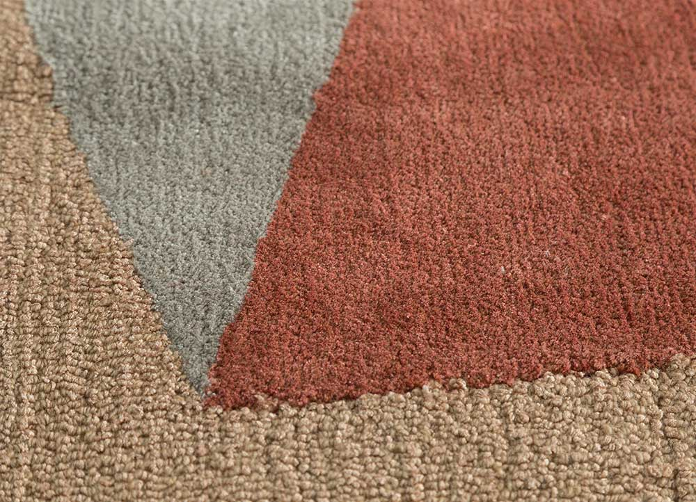 come around red and orange wool and viscose hand tufted Rug - CloseUp