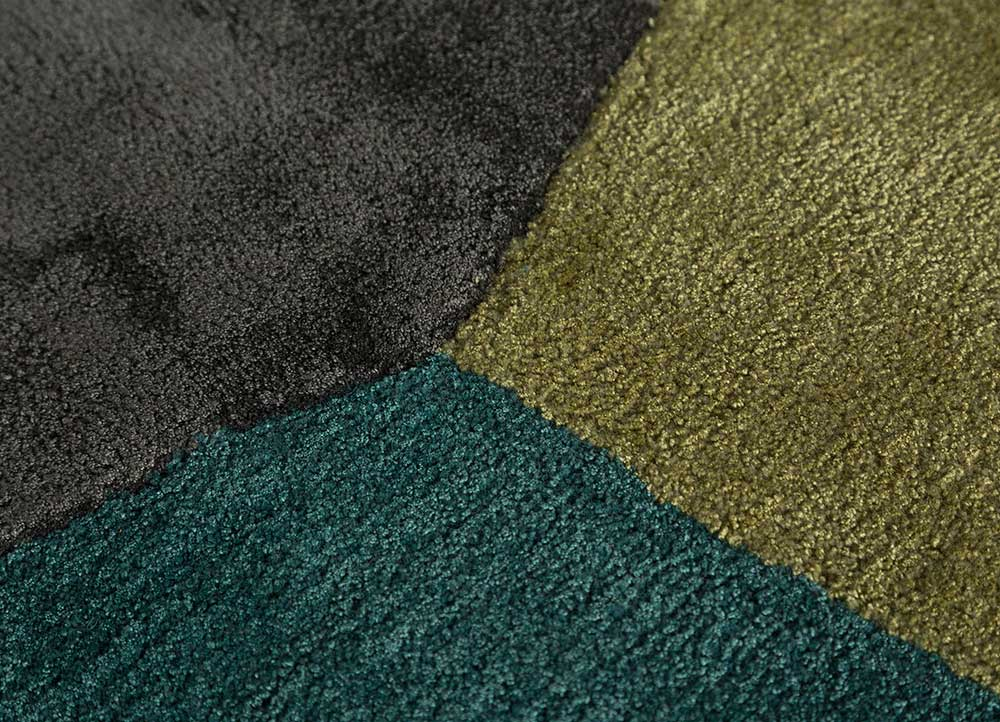 come around blue wool and viscose hand tufted Rug - CloseUp