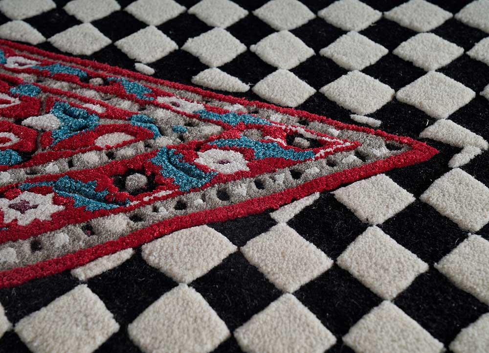 concoction grey and black wool and viscose hand tufted Rug - CloseUp