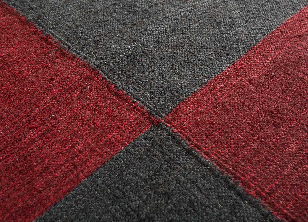 heritage red and orange wool and bamboo silk flat weaves Rug - CloseUp