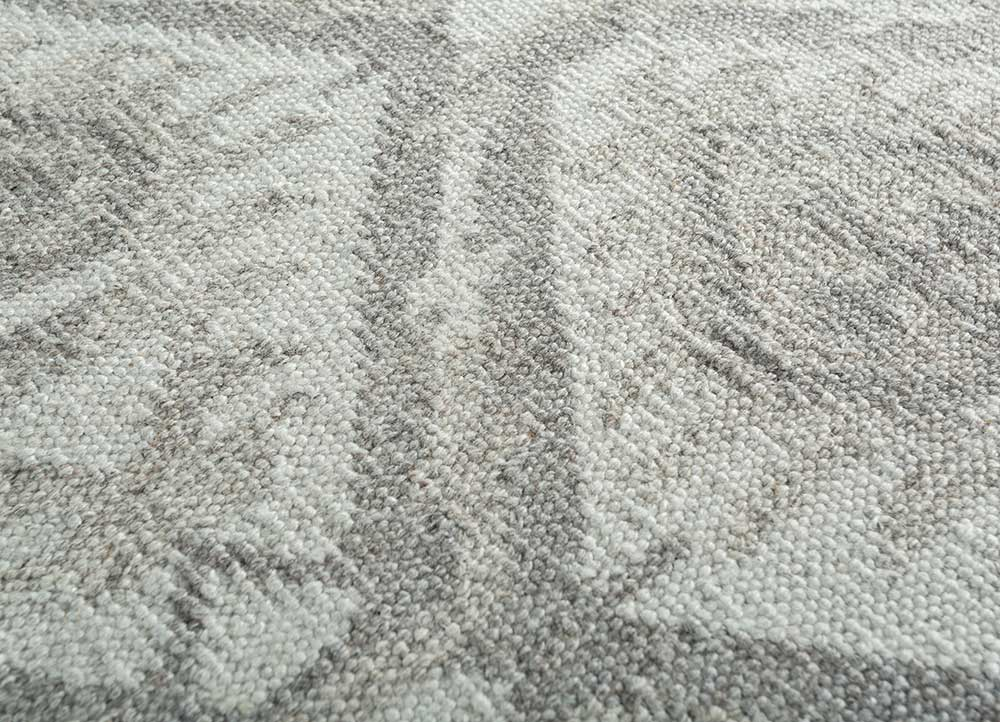 bedouin grey and black wool and viscose flat weaves Rug - CloseUp