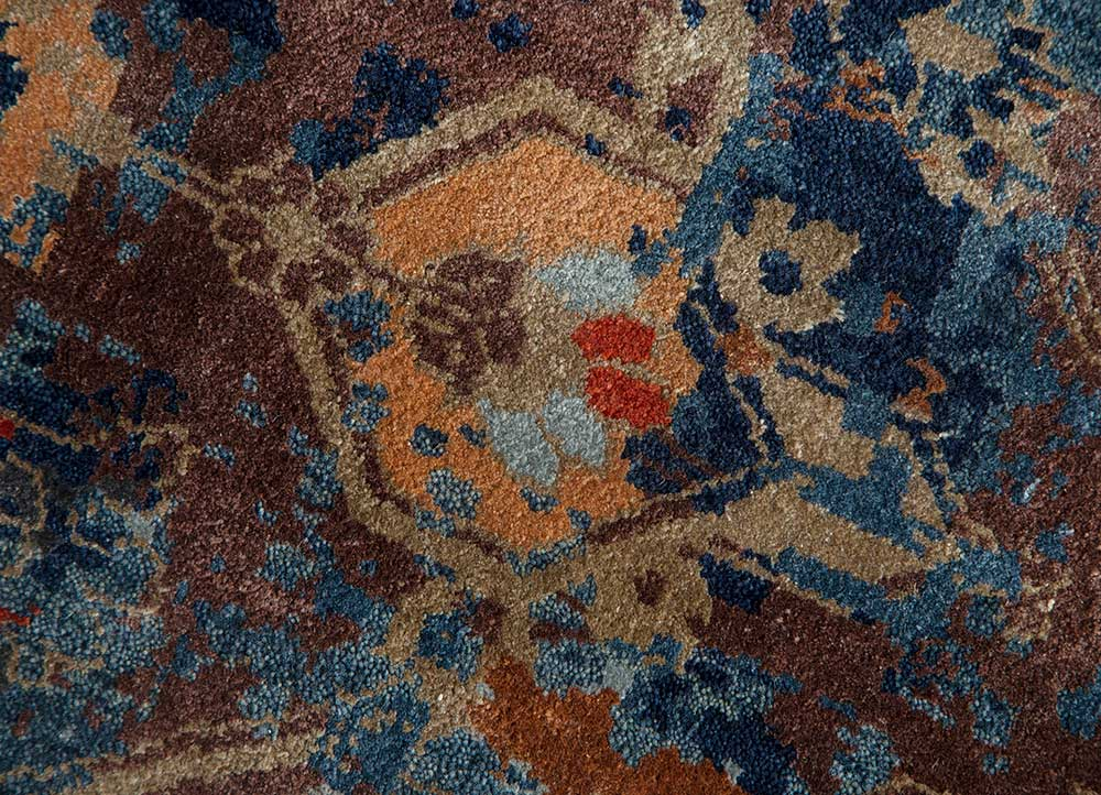 far east blue wool and bamboo silk hand knotted Rug - CloseUp