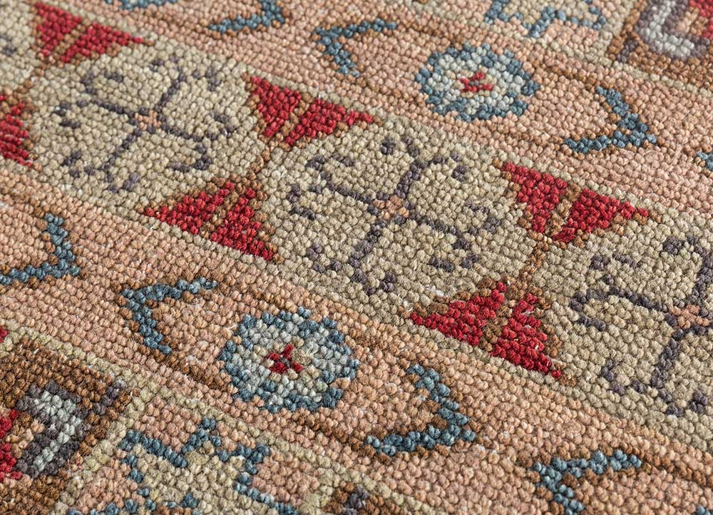 liberty red and orange wool hand knotted Rug - CloseUp