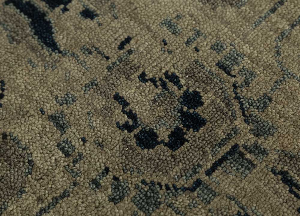 eden beige and brown wool hand knotted Rug - CloseUp