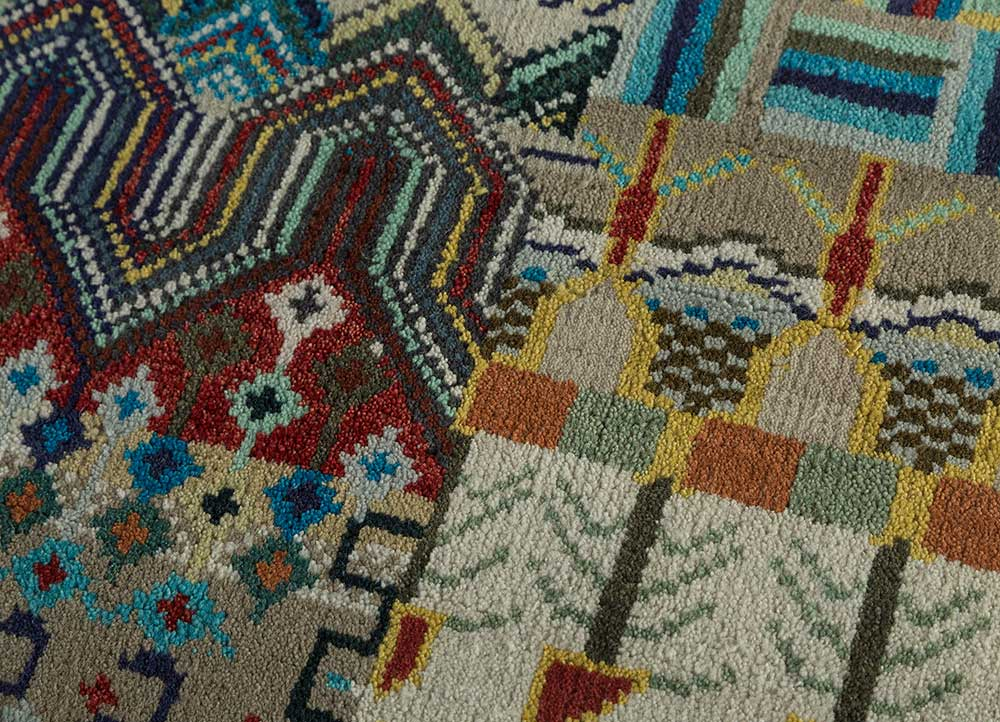 erbe ivory wool hand knotted Rug - CloseUp