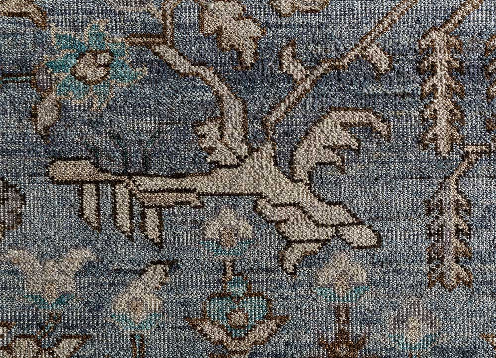 someplace in time blue wool hand knotted Rug - CloseUp