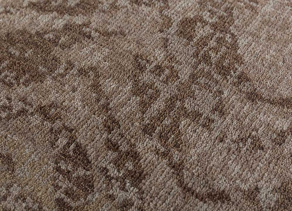 cleo beige and brown wool hand knotted Rug - CloseUp