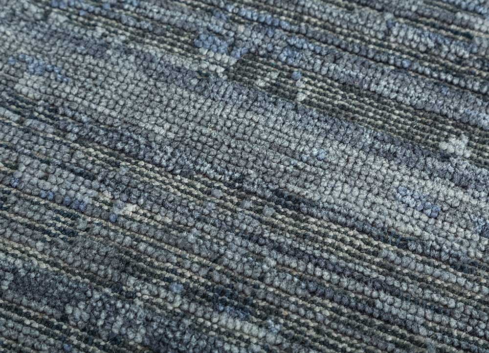 legion blue wool and silk hand knotted Rug - CloseUp