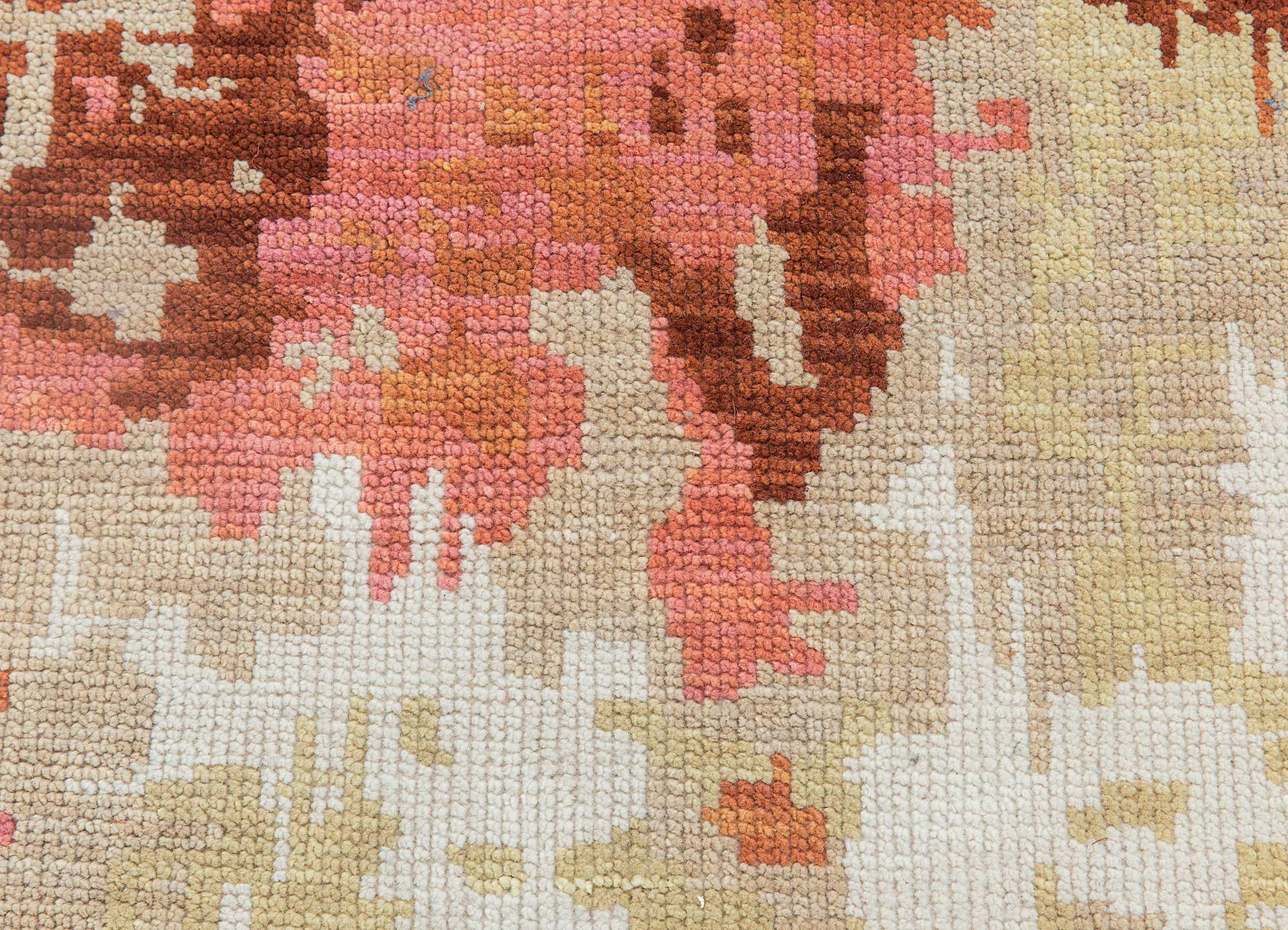 esme beige and brown polyester hand knotted Rug - CloseUp
