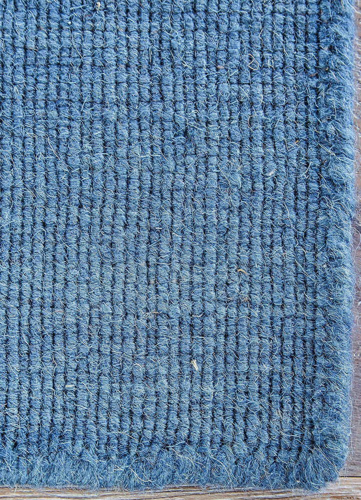 aqua blue wool flat weaves Rug - CloseUp