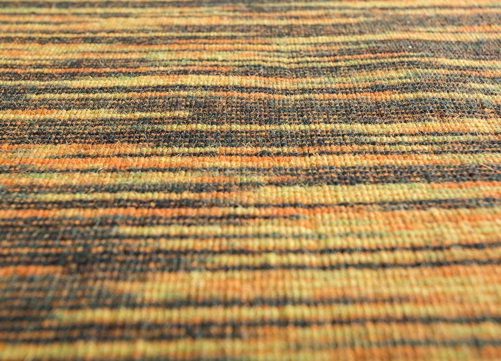 abrash red and orange wool flat weaves Rug - CloseUp