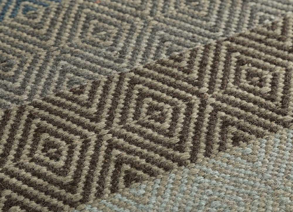 kaross grey and black wool flat weaves Rug - CloseUp