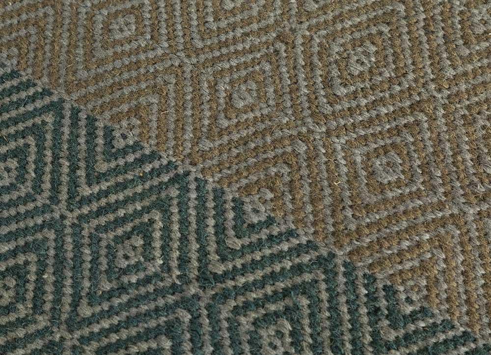 kaross beige and brown wool flat weaves Rug - CloseUp