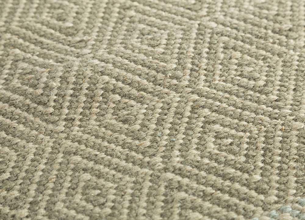 kaross green wool flat weaves Rug - CloseUp