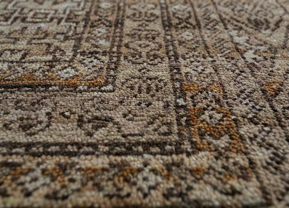 someplace in time beige and brown wool hand knotted Rug - CloseUp