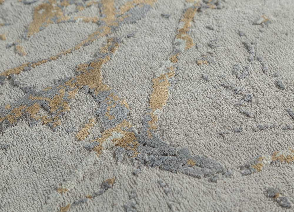 urban pause by kavi grey and black wool and silk hand knotted Rug - CloseUp