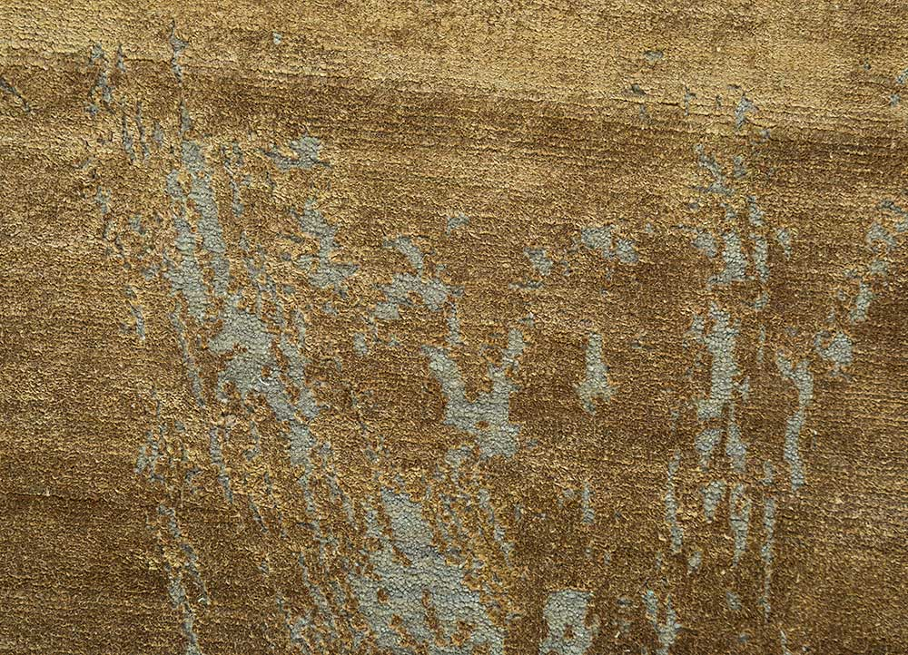 free verse by kavi beige and brown wool and silk hand knotted Rug - CloseUp