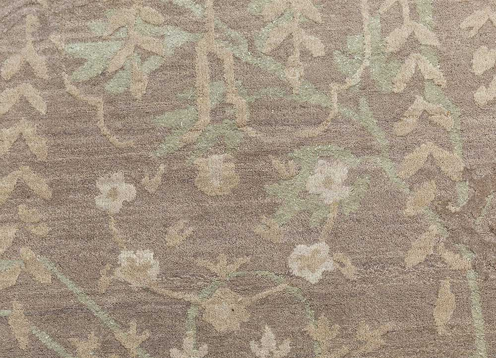 biscayne beige and brown wool and silk hand knotted Rug - CloseUp