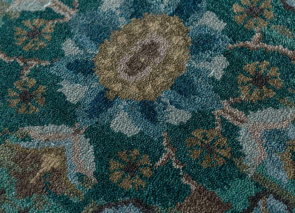 atlantis green wool hand knotted Rug - CloseUp