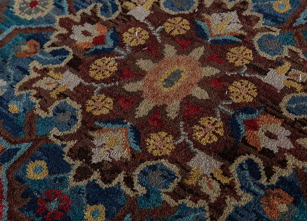 atlantis red and orange wool hand knotted Rug - CloseUp