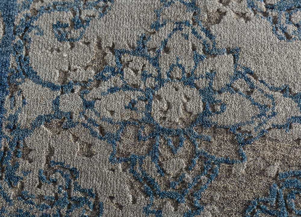 eden grey and black wool hand knotted Rug - CloseUp