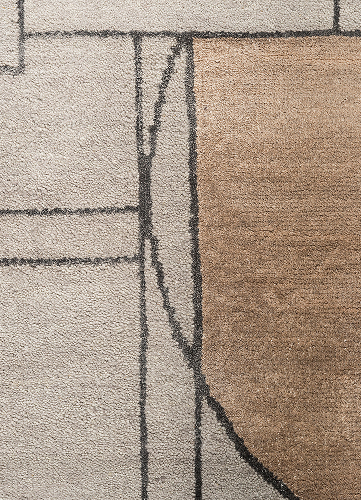 aakar by kavi grey and black wool and bamboo silk hand knotted Rug - CloseUp