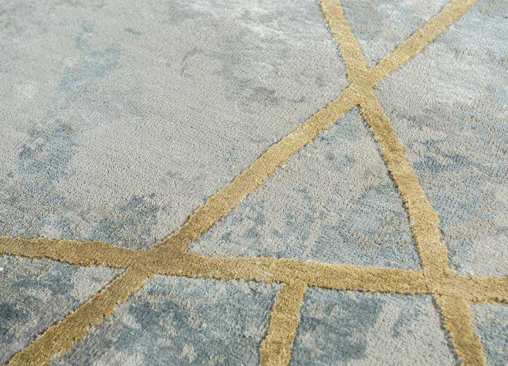 chaos theory by kavi grey and black wool and bamboo silk hand knotted Rug - CloseUp