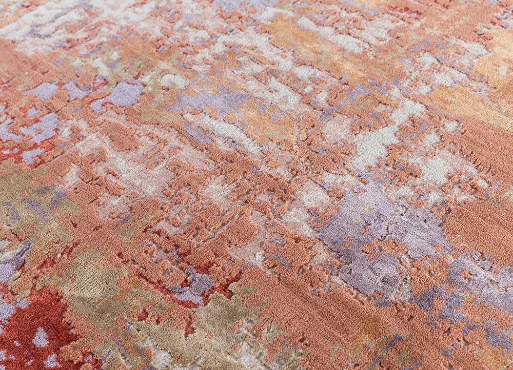 project error by kavi red and orange wool and bamboo silk hand knotted Rug - CloseUp