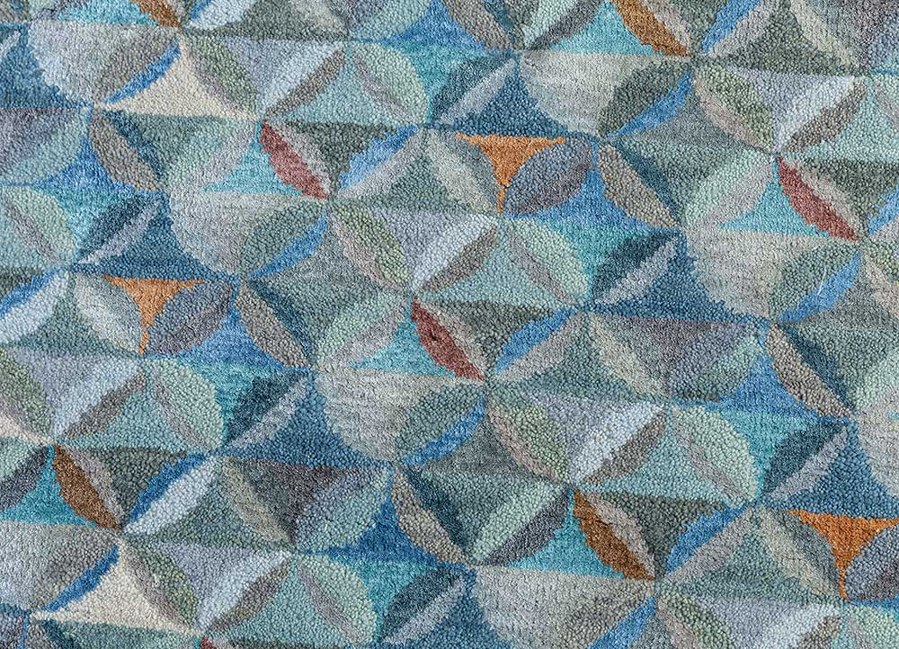 aakar by kavi blue wool and bamboo silk hand knotted Rug - CloseUp