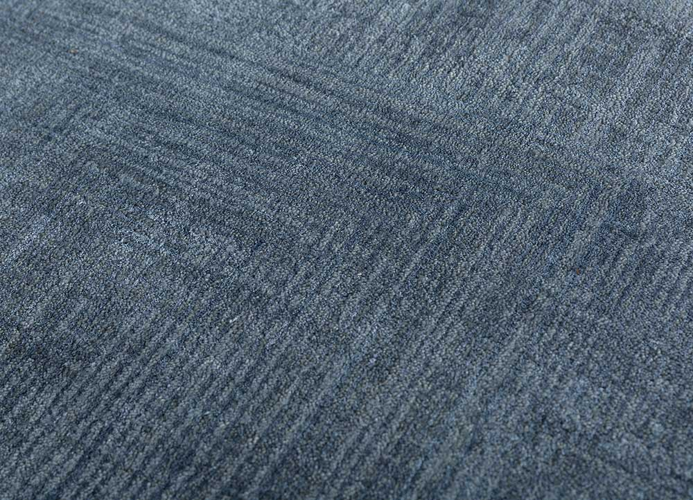 project error by kavi blue wool and bamboo silk hand knotted Rug - CloseUp
