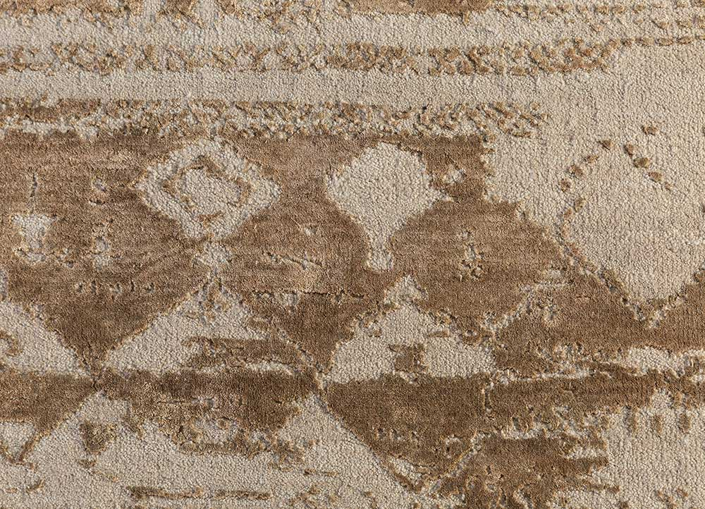 project error by kavi beige and brown wool and bamboo silk hand knotted Rug - CloseUp