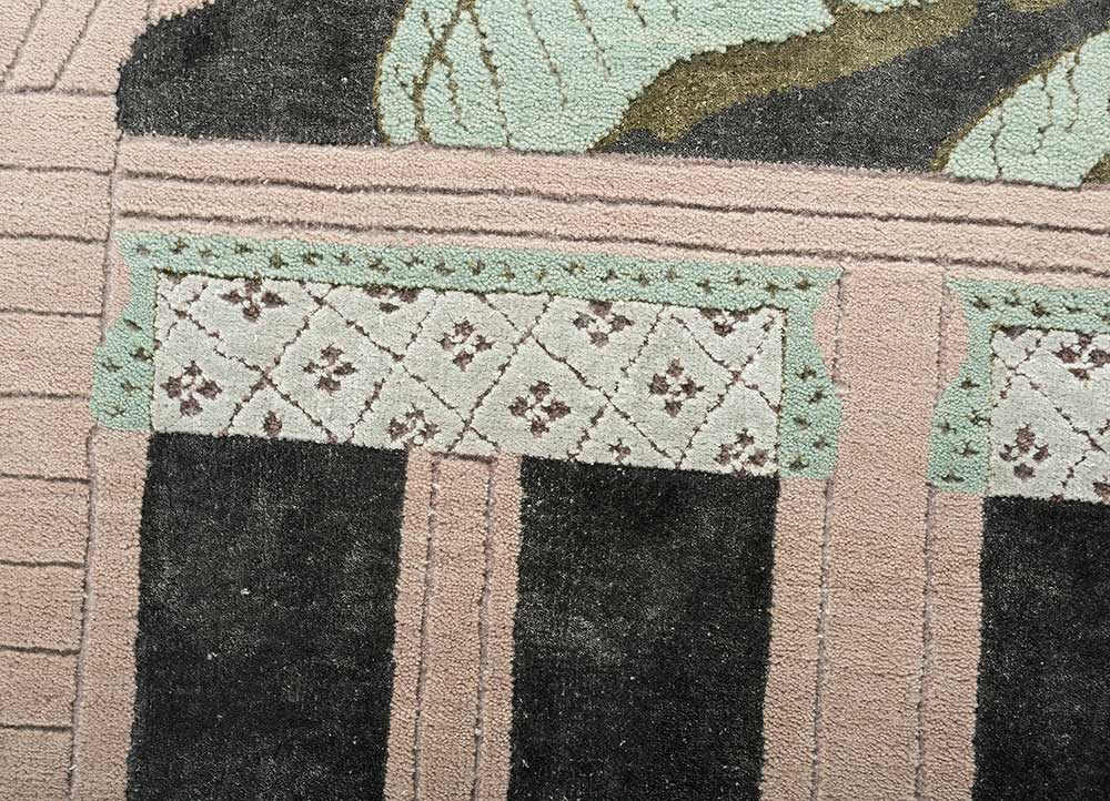 jaipur wunderkammer pink and purple wool and bamboo silk hand knotted Rug - CloseUp