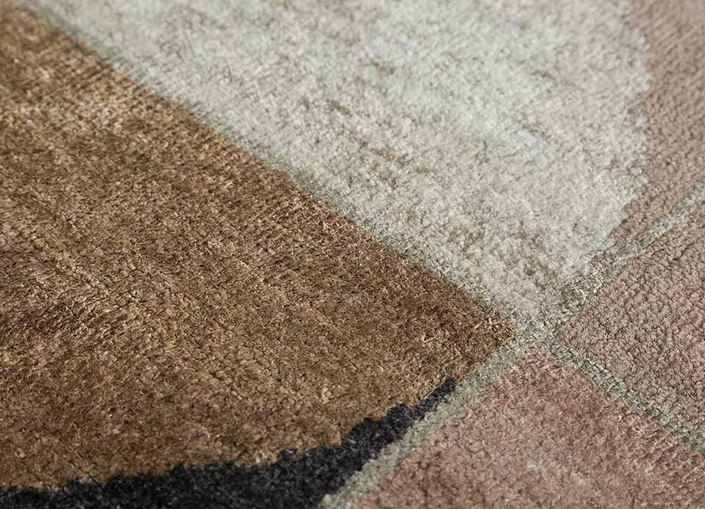 aakar by kavi pink and purple wool and bamboo silk hand knotted Rug - CloseUp