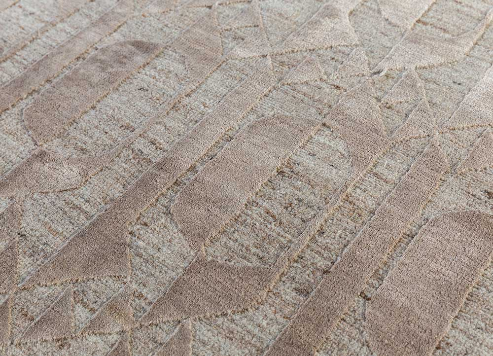 aakar by kavi beige and brown wool and bamboo silk hand knotted Rug - CloseUp