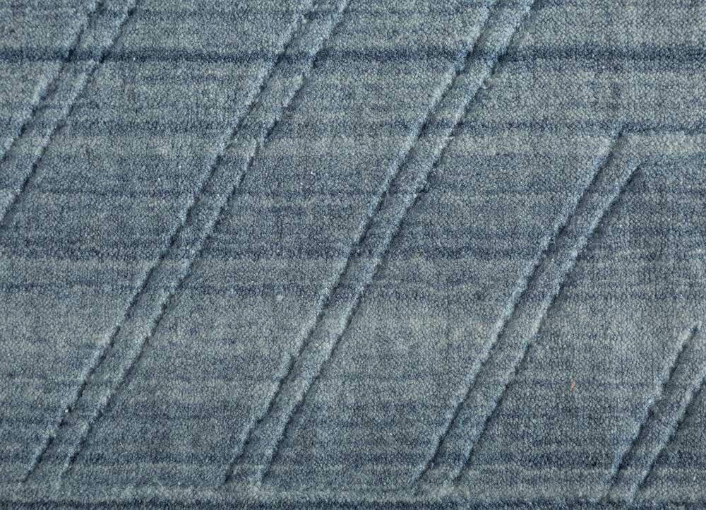 graze blue polyester hand loom Rug - CloseUp