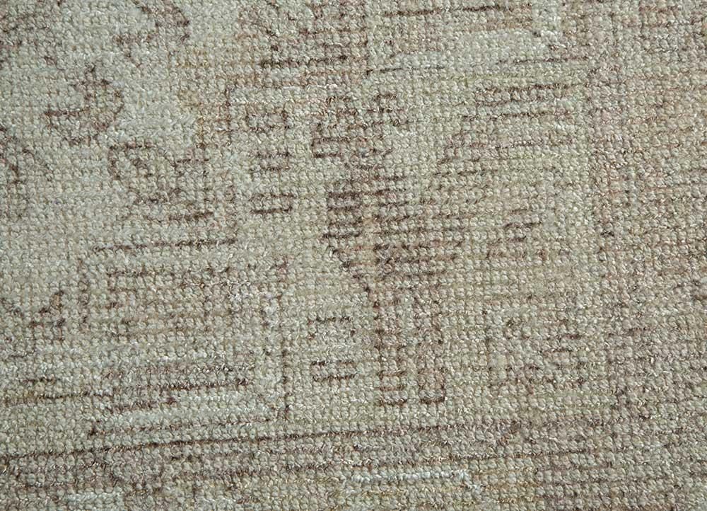 acar ivory wool and bamboo silk hand loom Rug - CloseUp