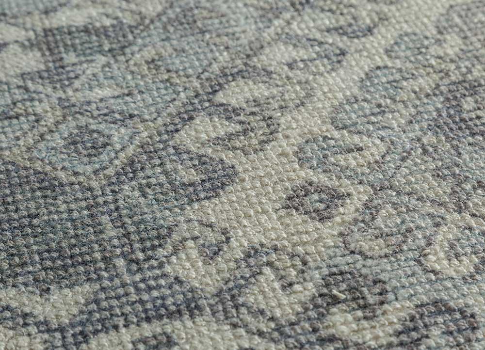 acar blue wool and bamboo silk hand loom Rug - CloseUp