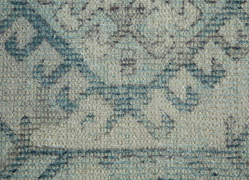 acar beige and brown wool and bamboo silk hand loom Rug - CloseUp