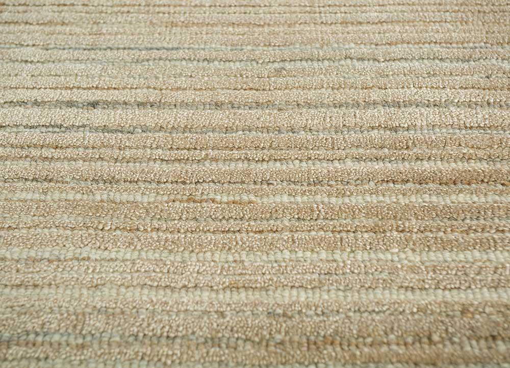 oxford beige and brown wool hand loom Rug - CloseUp