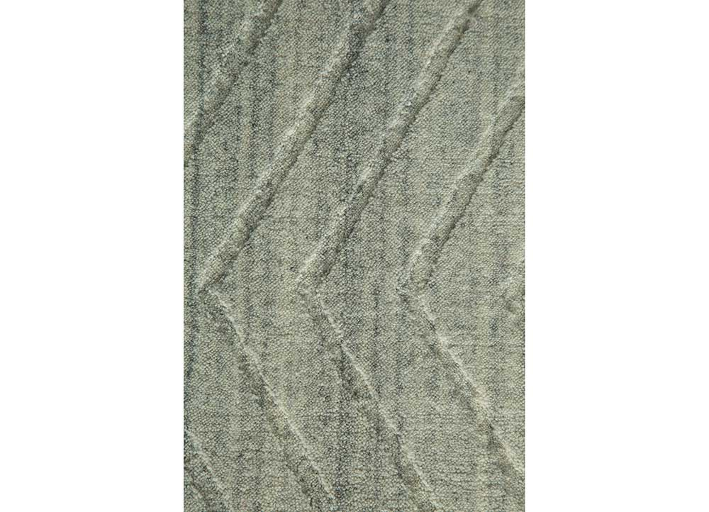 graze grey and black wool hand loom Rug - CloseUp