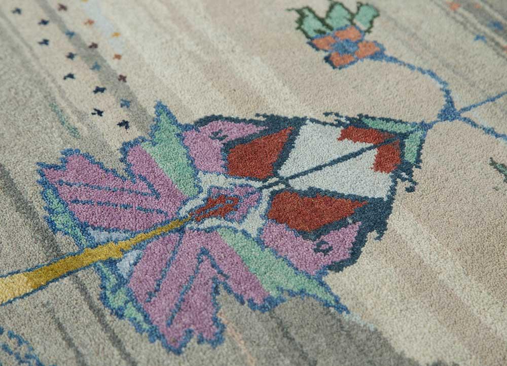 freedom manchaha grey and black wool and bamboo silk hand knotted Rug - CloseUp