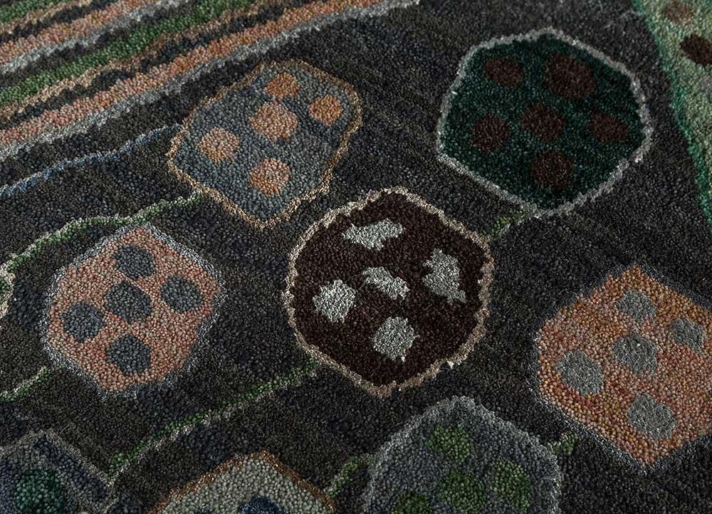artisan originals blue wool and bamboo silk hand knotted Rug - CloseUp