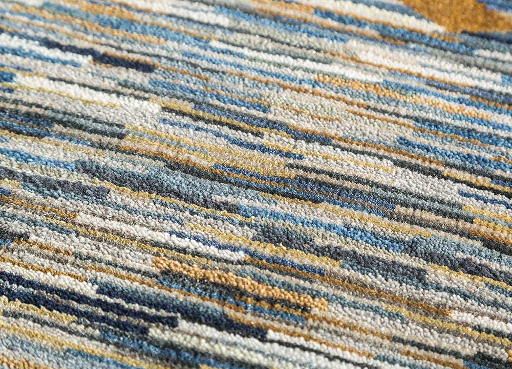 freedom manchaha blue wool and bamboo silk hand knotted Rug - CloseUp