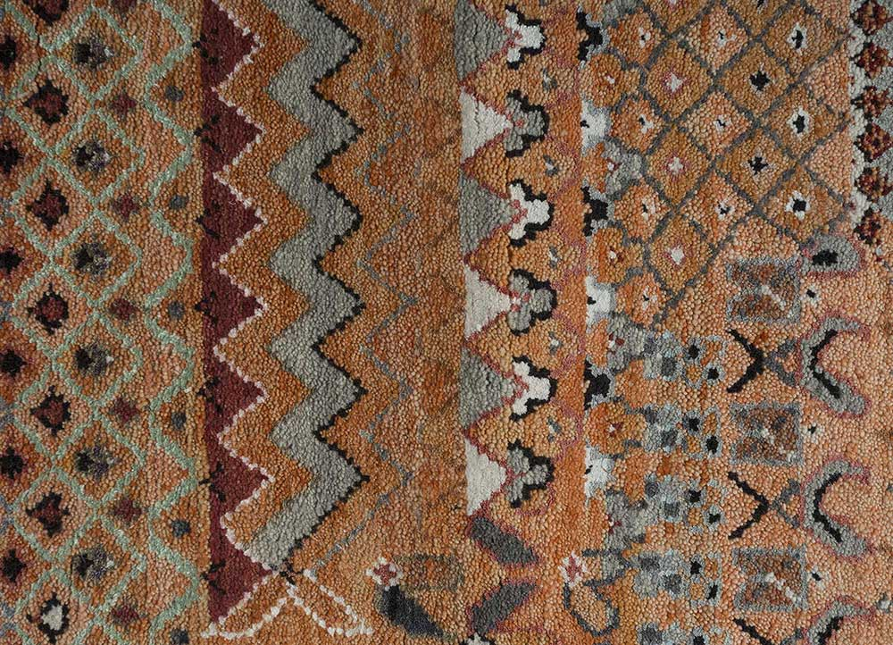 artisan originals red and orange wool and bamboo silk hand knotted Rug - CloseUp