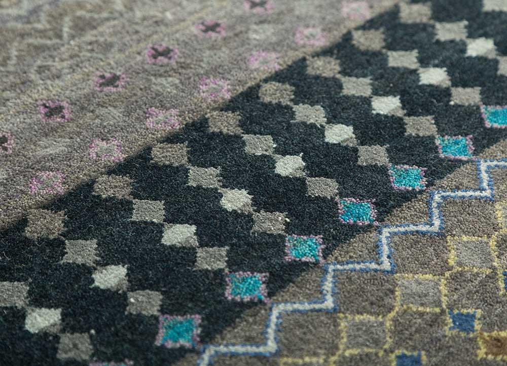 artisan originals grey and black wool and bamboo silk hand knotted Rug - CloseUp