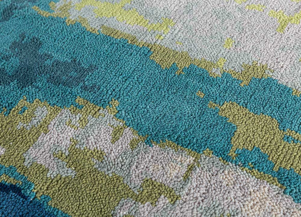 outdoor ivory polyester hand knotted Rug - CloseUp