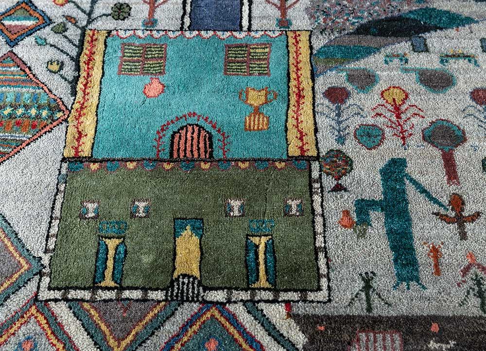 artisan originals grey and black wool and silk hand knotted Rug - CloseUp