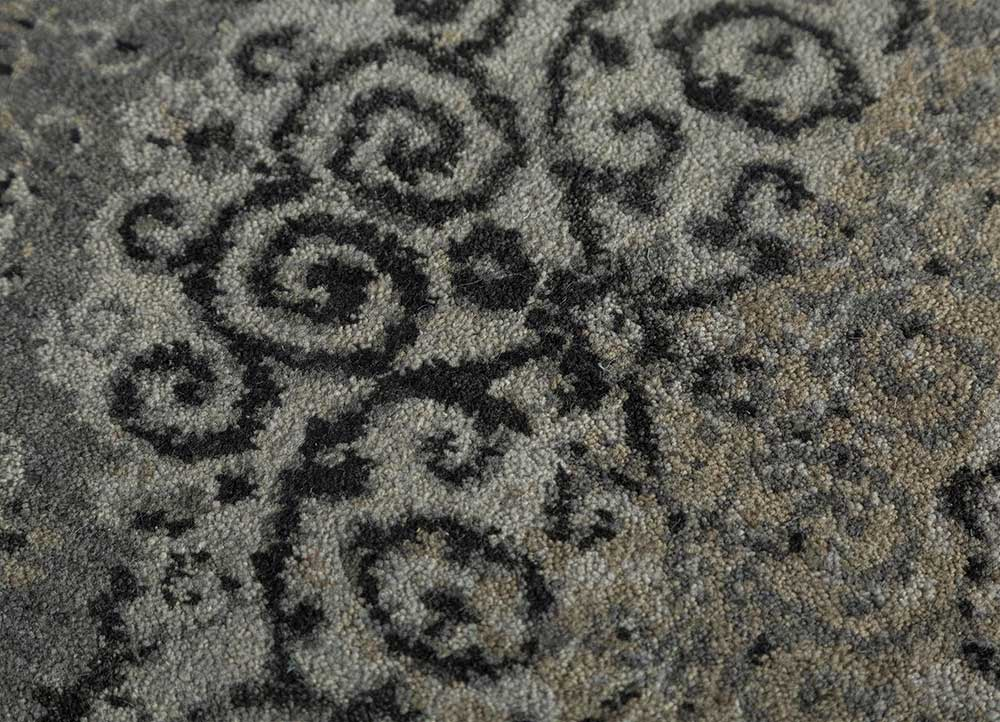 far east blue wool hand knotted Rug - CloseUp