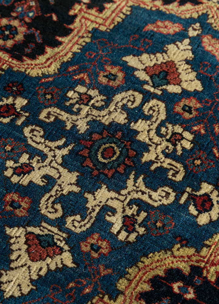 antique blue wool hand knotted Rug - CloseUp