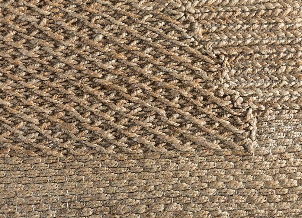 anatolia beige and brown jute and hemp jute rugs Rug - CloseUp